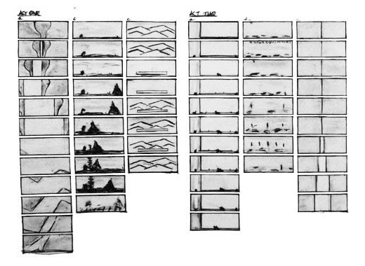 "Some of Robert Wilson's ""storyboards"" for the CIVIL warS. <br> Each large act was defined and structured by these changing stage pictures."